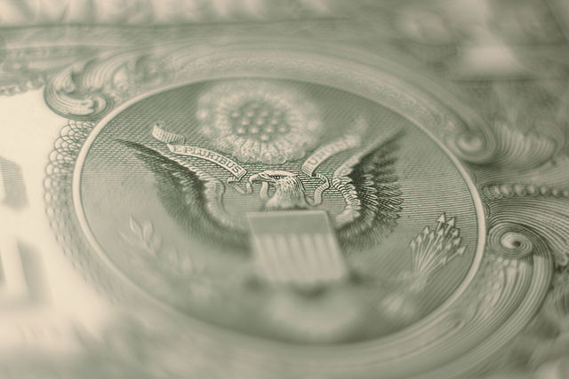 Close-up of an American dollar bill